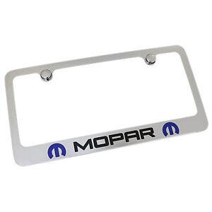 Dodge Mopar Dual Logo Chrome Metal License Plate Frame
