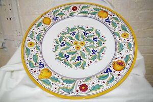 "Grazia Deruta Italy NWT $650 HUGE 22"" Serving Platter Majolica Pottery Heavy"