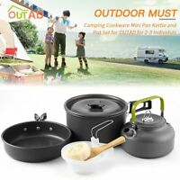 Camping Cookware Tableware Picnic Pot Pan Bowls stove Cooking Outdoor Hiking Vv