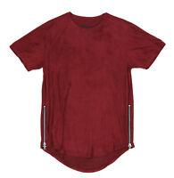 Smoke Rise Men's Vegan Suede Side Zipper Scallop Hem Longline T Shirt