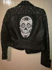 Black leather women jacket with skull,size 10
