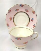 Colclough Fine Bone China Pink Tea Cup and Saucer England Roses Gold Trim
