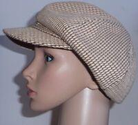 Ladies Beige & Brown Baker Boy Woven Hat One Size Peaked Cap Newsboy Cotton