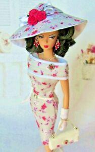 Virginie Fashion for Barbie Silkstone Gray Print Dress Shrug Hat Bag Jewelry Etc