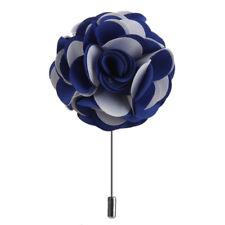 Handmade Fabric Lapel Flower Men Boutonniere Tuxedo Brooch Pin Blue White