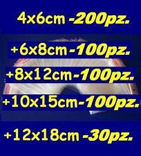 LOTTO 530pz buste bustine zip plastica sacchetti 4x6 6x8 8x12 10x15 12x18