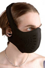 Snap On NEOPRENE FACE MASK head strap full soft muzzle mouth nose cover BLACK