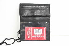 Real LEATHER THIN WALLET ID Badge Window Pocket Card Holder Pouch Neck Strap NR