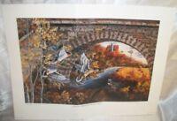 "Lithograph "" Stone Bridge Mallards "" By Donald Blakney"