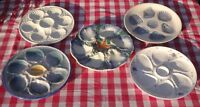 5 BLUE ANTIQUE FRENCH MAJOLICA OYSTER PLATES Saint Clement Longchamp Salins