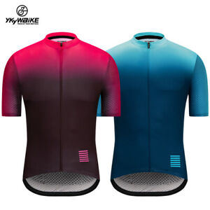 Mens Cycling Jersey Short Sleeve MTB Shirt Downhill Gradient color Bike Clothing