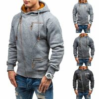 Stylish Men Winter Hoodie Warm Hooded Sweatshirt Sweater Coat Zip Jacket Outwear