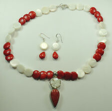 Statement Mother of Pearl Coral & Howlite Necklace & Earrings Sterling Silver