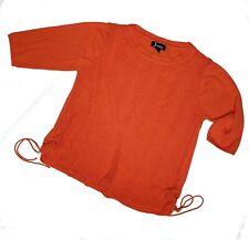Jenny Women's Orange Open Knit 3/4 Sleeve Thin Sweater Size XL