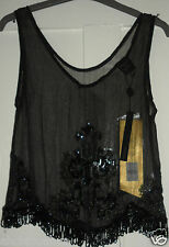 RARE BNWT Kate Moss Topshop Black Fringe Sequin Vest Top Size 8 £120