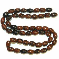 "NG2671f Brown Mahogany Obsidian 8x6mm Oval Rice Gemstone Beads 16"""