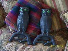 "Owl Andirons Antique Arts & Crafts Bradley Hubbard Iron Glass Eyes 9.5 x15.5"""