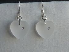 Sterling Silver Crystal Heart Earrings made with Swarovski Crystal Elements