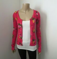 NWT Hollister Floral Cardigan Size XS Pink Sweater Hearts