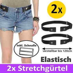 2x Stretchgürtel elastisch Damen Herren unsichtbar Gürtel Schnalle Einheitsgröße