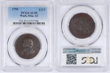 1793 1/2P Washington, Ship Halfpenny, Copper, Lettered Edge LE PCGS AU55