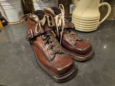 Vintage 1920's Original Chippewa Womens 6.5 Dark Brown Leather Ski Boots