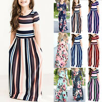 Kids Girl's Summer Maxi Dress Striped Long Short Sleeve Floral Holiday Sundress