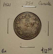Canada George V 1921 Silver Twenty Five Cents - G+