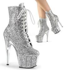 Pleaser Silver Glitter Disco Boots