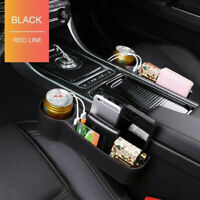 Car Seat Gap Storage Box Organizer Dual USB Ports PU Leather Cup Holder Right