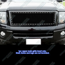 Fits 2007-2013 Ford Expedition Stainless Steel Black Rivet Studs Grille Inserts
