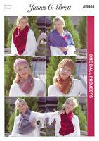 One Ball Projects Knitting Pattern Ladies Neck Wrap & Scarves James Brett JB461