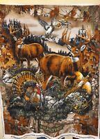 Real Tree 2 Buck Deer with Turkey and Birds Fleece Fabric Panel -- New