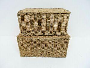 Set of 2 x Seagrass Lidded Storage Baskets #2  G13
