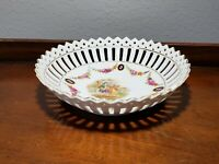 Vintage / Antique Lattice Cut Porcelain Bowl Germany 7""
