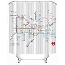 Shower Curtain Subway Tube Map Pattern Bathroom Waterproof Polyester Curtain