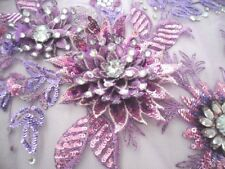 Embroidered 3D Applique Fabric Lavender Mauve Sequin Rhinestone Floral (Dh78)