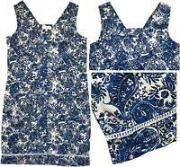 NEW IN! Beautiful NEXT Paisley Blue & White Linen Blend Summer Shift Dress 6-18