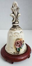 Rare Capodimonte Ceramic Bell with Applied Flowers Made in Italy