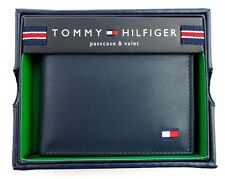 TOMMY HILFIGER MEN'S PREMIUM LEATHER CREDIT CARD ID WALLET BILLFOLD NAVY 4891-03