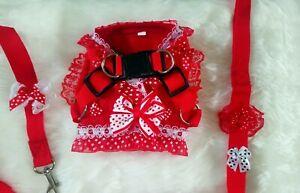 Chihuahua tiny puppy dog XX-SMALL red & white pokadot harness dress. & lead set.