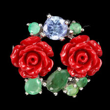 Sterling Silver Flower Ring Size 6 Unheated Oval Green Emerald Tanzanite 925
