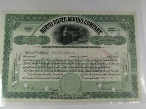 1913 North Butte Mining Company Stock Certificate.  #126