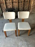 ( 2 ) Thonet Mid Century Bentwood Wood Side Chairs White Vinyl