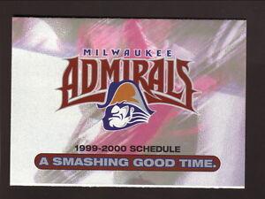 Milwaukee Admirals--1999-00 Pocket Schedule--Potawatomi Bingo Casino