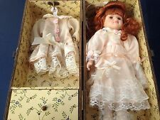 Porcelain Doll with Doll & Change of Clothing in Wood Box With Drawer