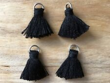 4 x Cotton Tassels 20mm 2cm Long - BLACK - great for earrings & accessories