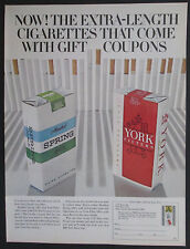 York Filter &Menthol Spring Cigarettes 100's With Gift Coupons Original Print Ad
