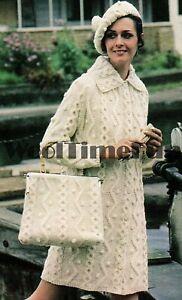 Knitting Pattern Ladies Classic Aran/Cable Coat/Beret/Cap/Bag
