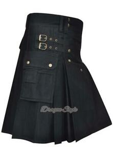 Brand New Men's Kilt Black 100%Cotton Utility Kilt,/ Different Colors Available